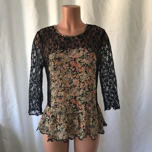 Top Shop floral panel lace drop waist ruffle hem